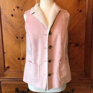 L.L.Bean Sherpa lined suede vest!!!  In pink!!!
